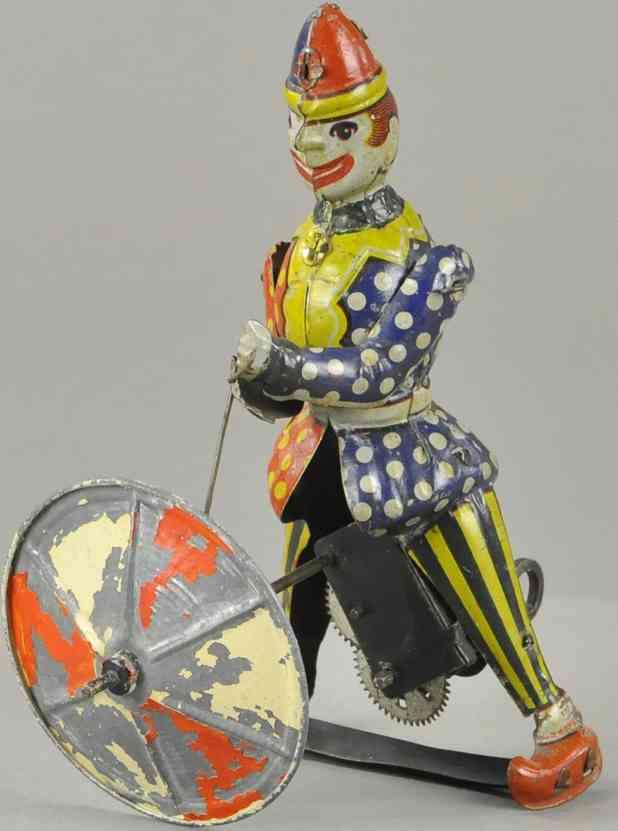 blech spielzeug clown mit sich drehendem regenschirm