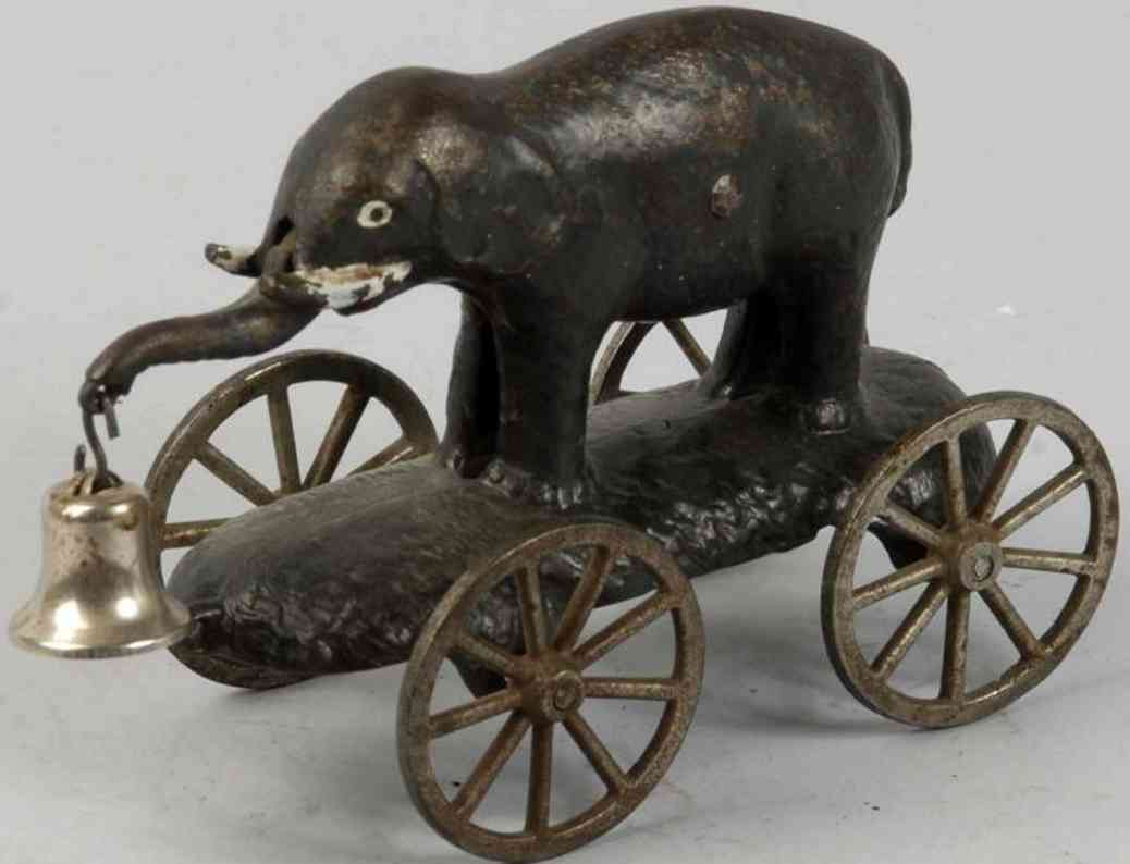 Elephant with swivel trunk as bell toy