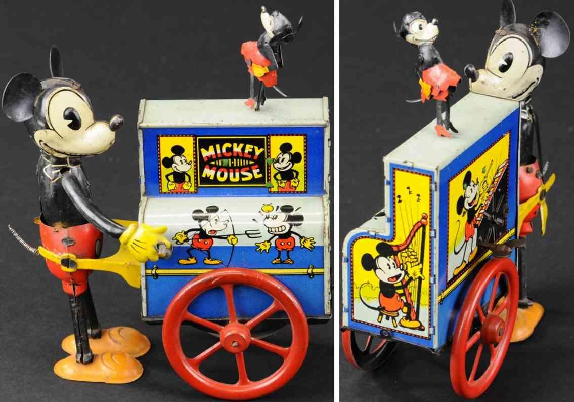 blech spielzeug micky maus hurdy gurdy orgelspieler uhrwerk