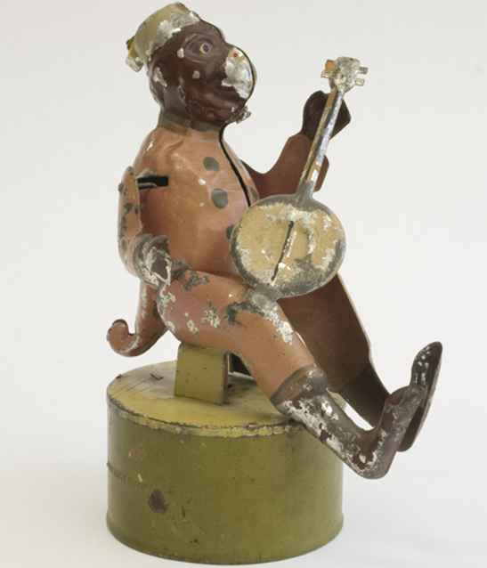 monkey with banjo tin windup musical toy