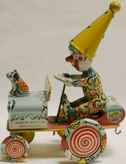 unique art manufacturing company tin toy clown crazy car dog