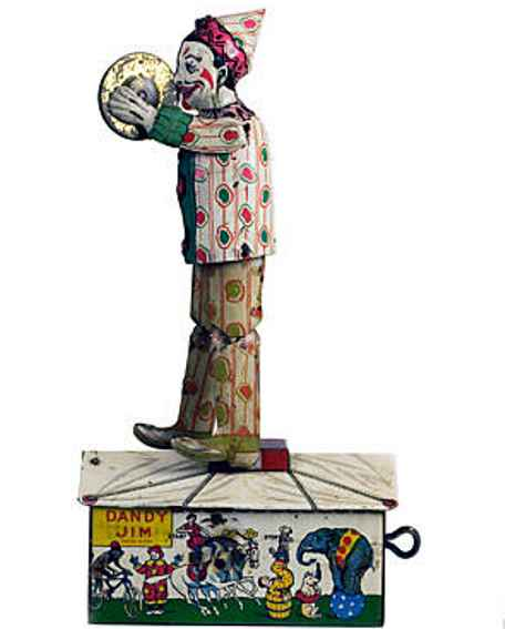 unique art manufacturing company tin toy clown dandy-jim dancer