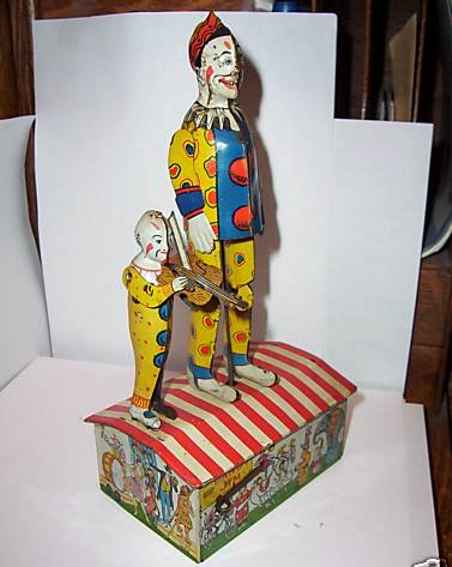 unique art manufacturing company blech spielzeug clown dandy jim taenzer