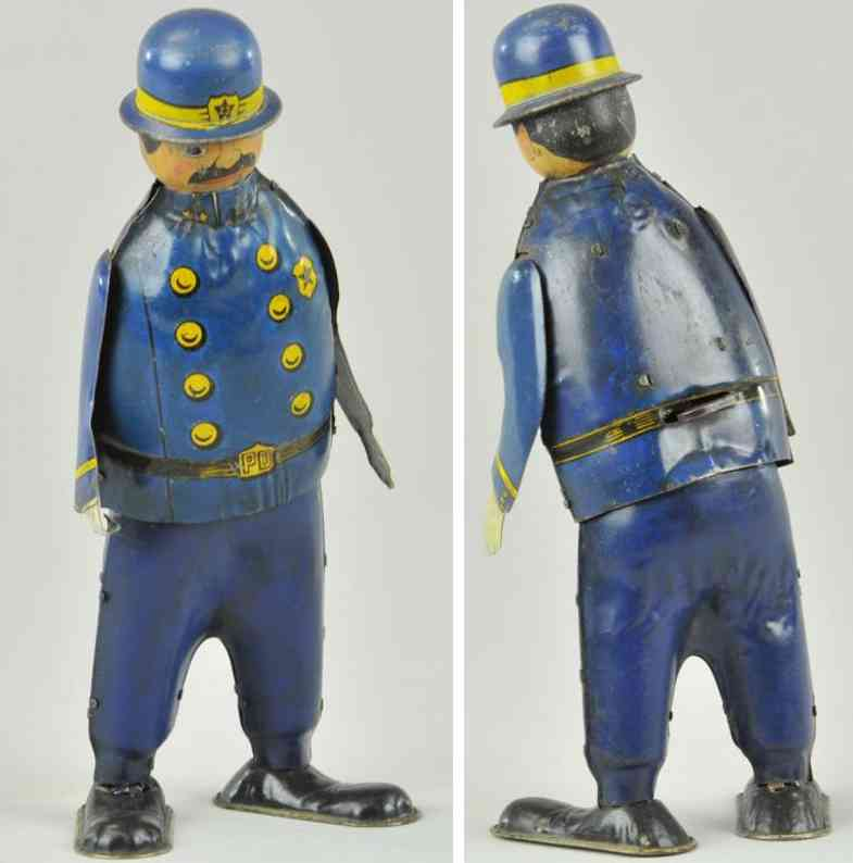 unique art manufacturing tin toy casey the cop
