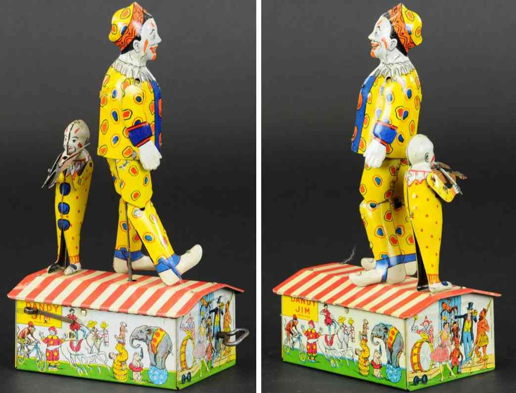 unique art manufacturing company tin toy dandy jim the jolly clown dancer