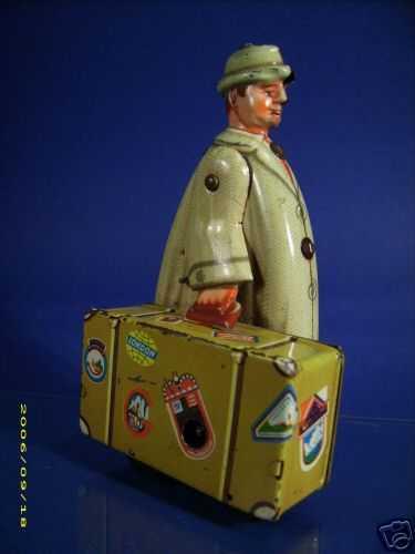 voit fritz blech spielzeug staubsauger-vertreter mit koffer uhrwerk