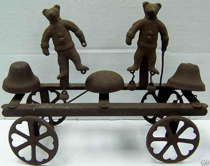 watrous mfg co 637 cast iron toy bell toy dancing teddy bears