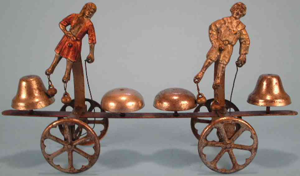 watrous mfg co cast iron tin toy columbus two bell ringer