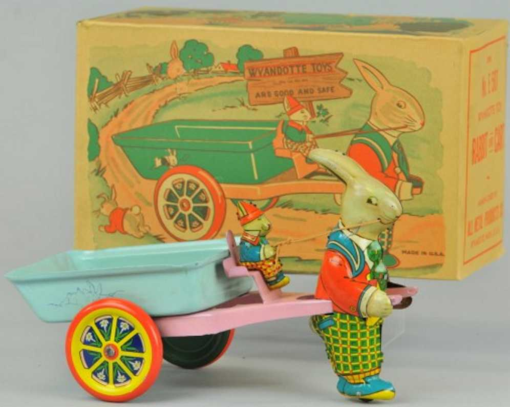 wyandotte E 507 tin toy rabbit drawn easter cart