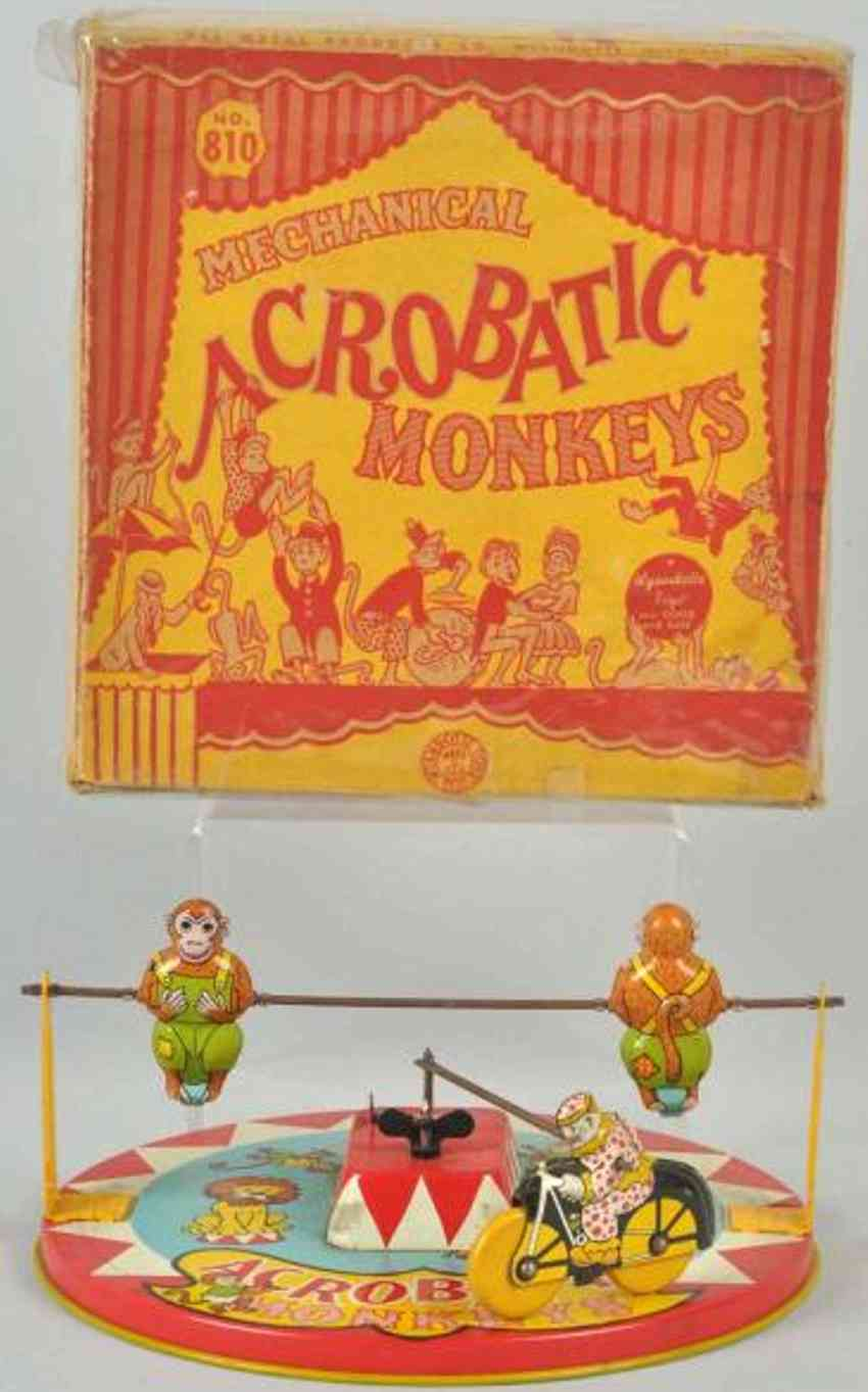 wyandotte 810 tin toy acrobatic monkeys