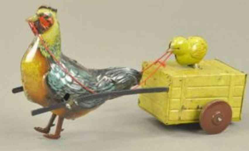 yamada 44 blech spielzeug chick-chick hahn mit karre uhrwerk