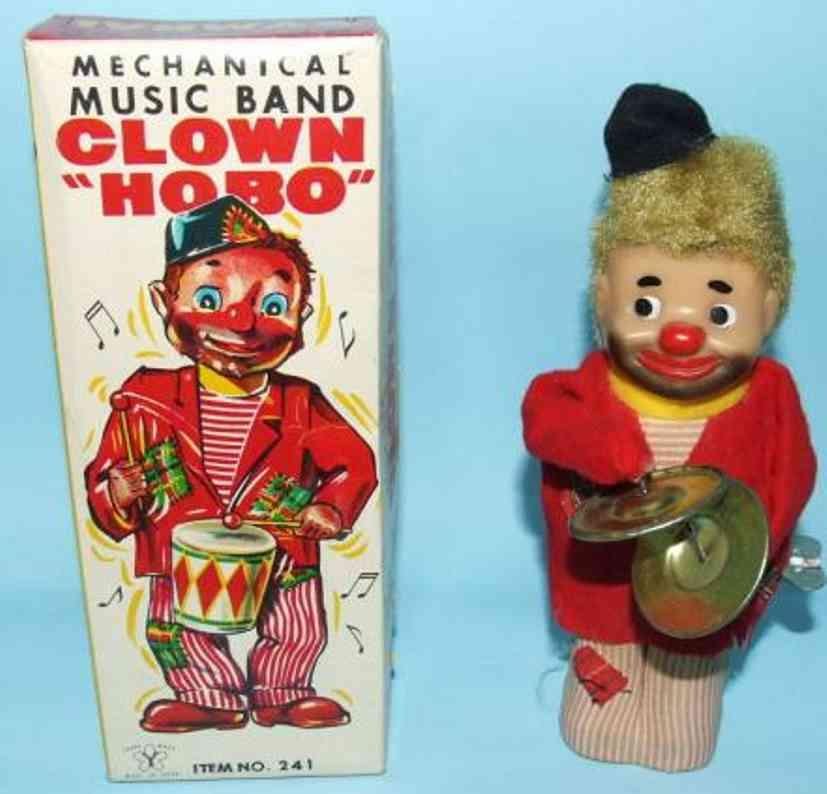 yonezawa 241 tin toy clown mechanical music band clown hobo, tin windup toy; when wound