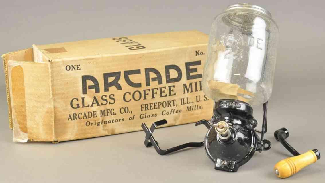arcade 25 spielzeug gusseisen kaffeemühle nr. 25 aus schwarzem gusseisen mit karton, handb