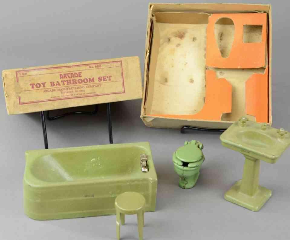arcade 682 spielzeug gusseisen badezimmer set badewann waschbecken toilette