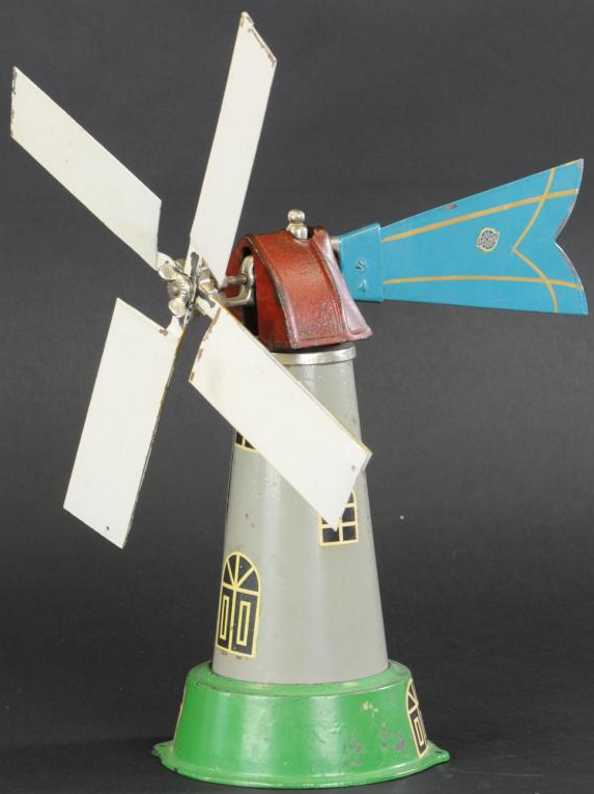 arcade Windmill (11) tin toy windmill made of pressed steel, tower painted in grey with g