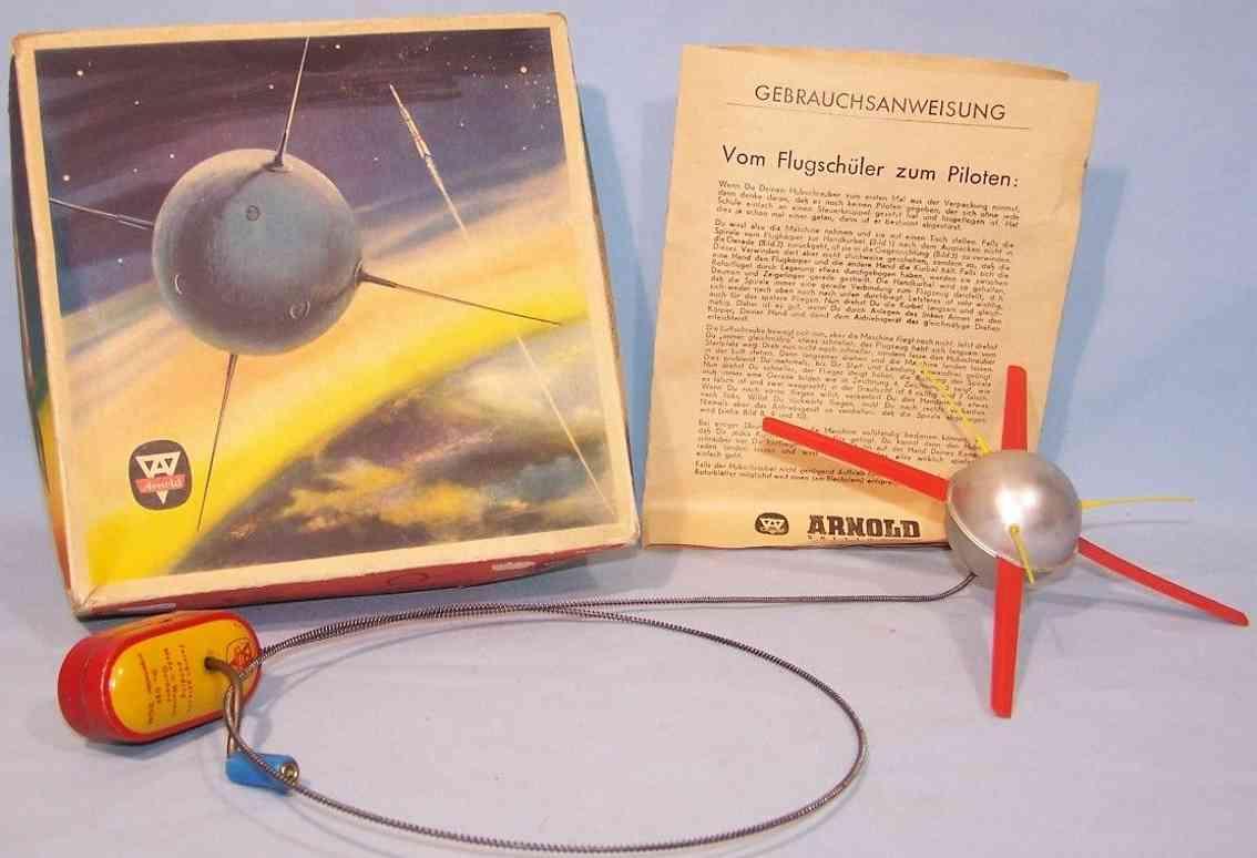 arnold 5030/295 blech spielzeug remote control satelitte mit kurbelantrieb