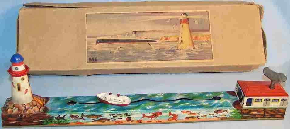 arnold 596 blech spielzeug schiffsbahn uhrwerk leuchtturm