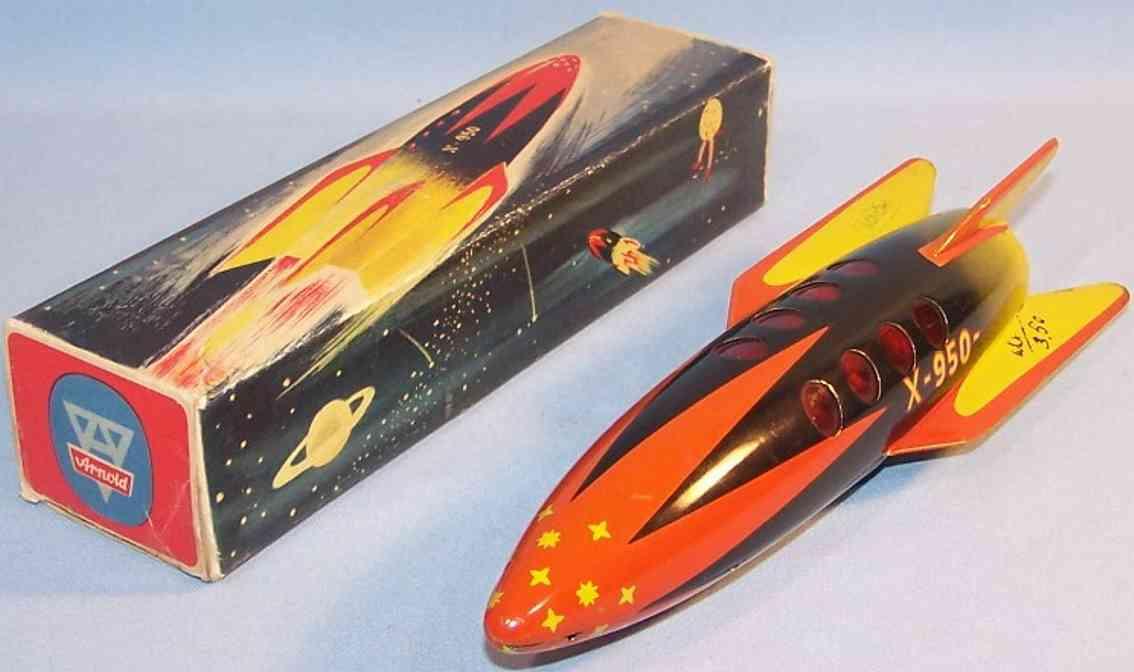 arnold blech spielzeug rakete x-950 mit schwungradantrieb rot schwarz gelb