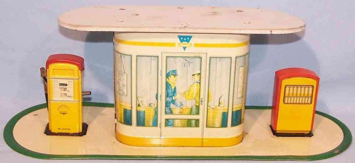 arnold tin toy shell petrol station oil cabinet