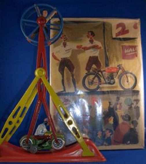 arnold 930 blech spielzeug ueberschlagkarussell motorrad-akrobat teufelsrad