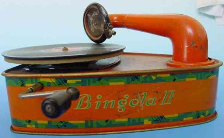 bing 10/9356 blech spielzeug grammophon bingola II fuer 25 cm platten