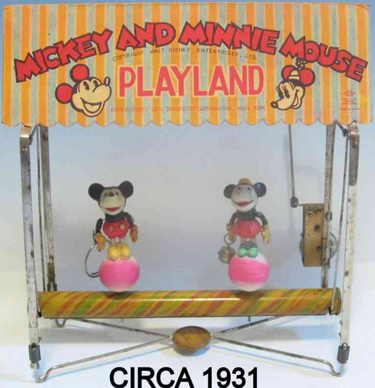 borgfeldt george & co tin toy mickey and minnie mouse playland of tin and celluloid, wind-