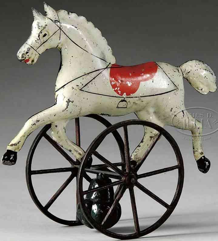 brown george blech spielzeug pferd balancierspielzeug mit einem weißen pferd mit rotem sa