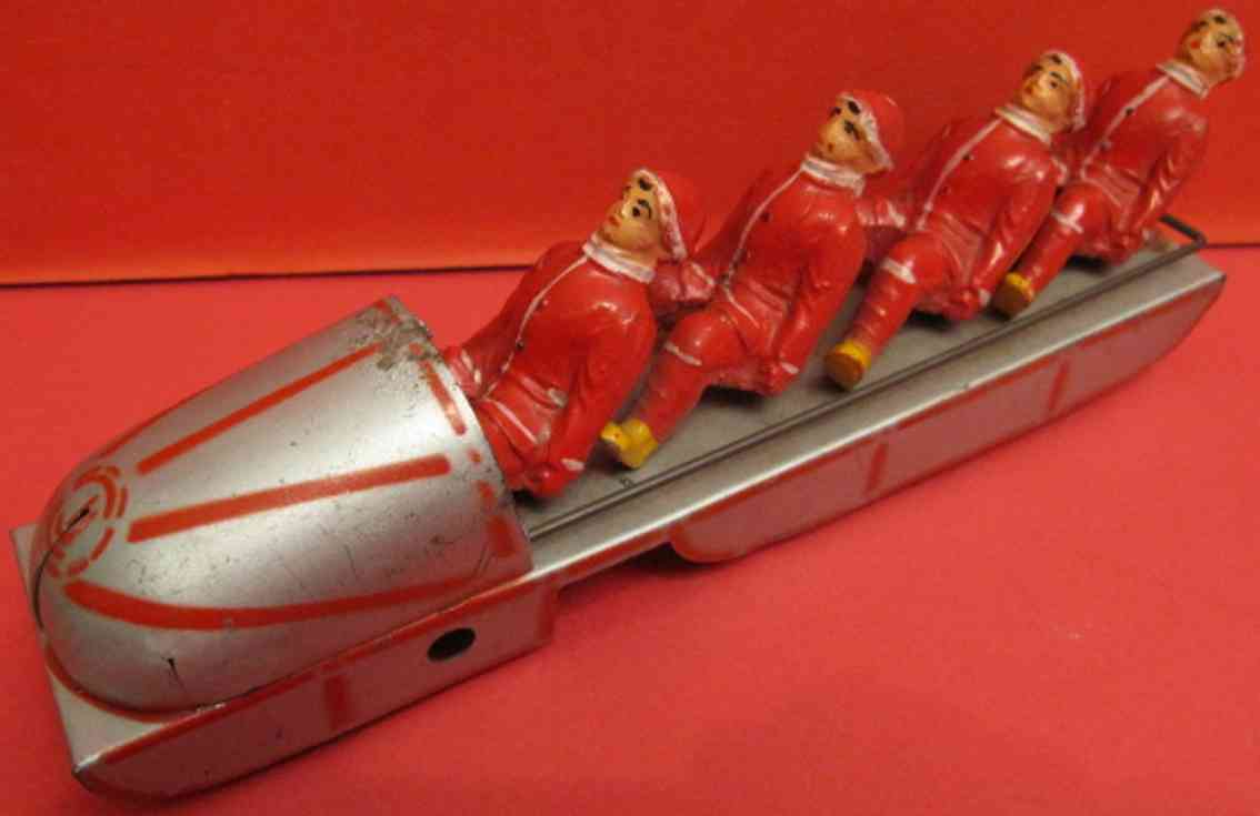 cij bobsled tin wind-up toy four riders
