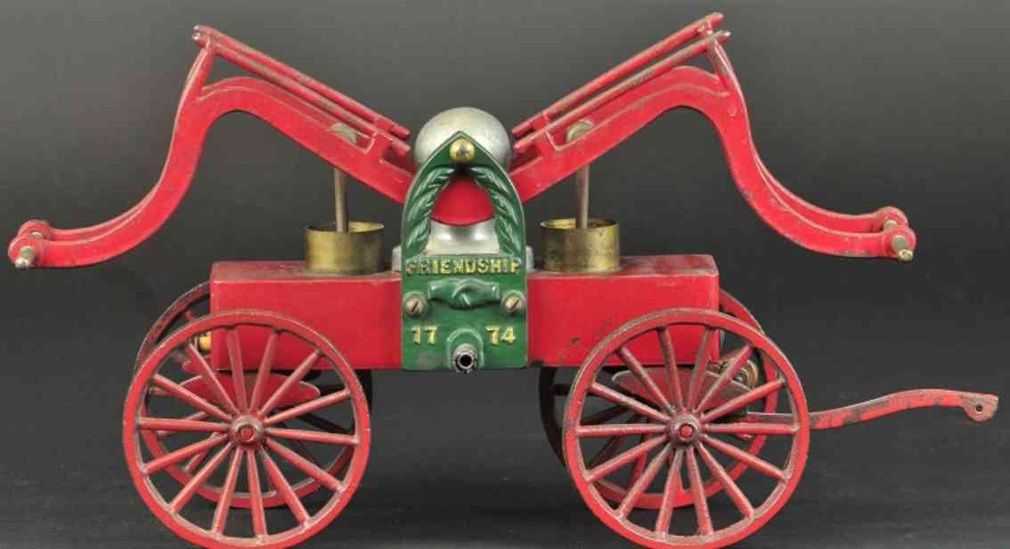 clark ship model co friendship 1774 cast iron toy hand fire pumper