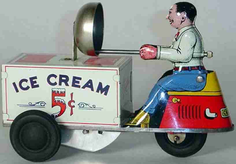 courtland 6500 tin toy ice cream scooter windup