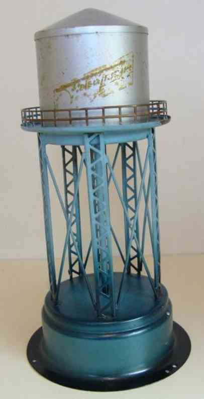 fleischmann 589 tin toy water tower, round water tower on grating frame, rail, ladde