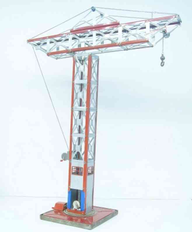 geobra tin toy big rotatable sheet crane, hand crank, in red and aluminium