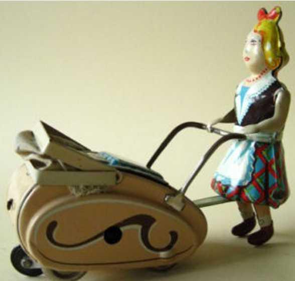 goeso 470 blech spielzeug maedchen schiebt kinderwagen mit uhrwerk