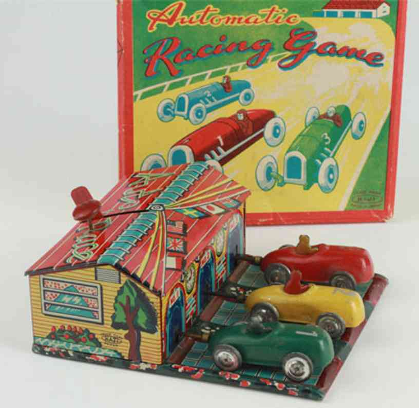 haji mansei toys co ltd tin toy automatic racing game with box with detailed tin lithographe