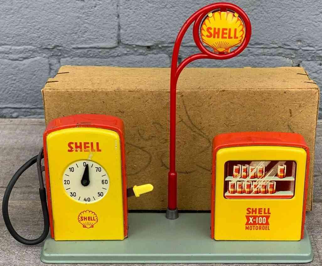 hoch & beckmann tin toy shell petrol fuel station gas pump island