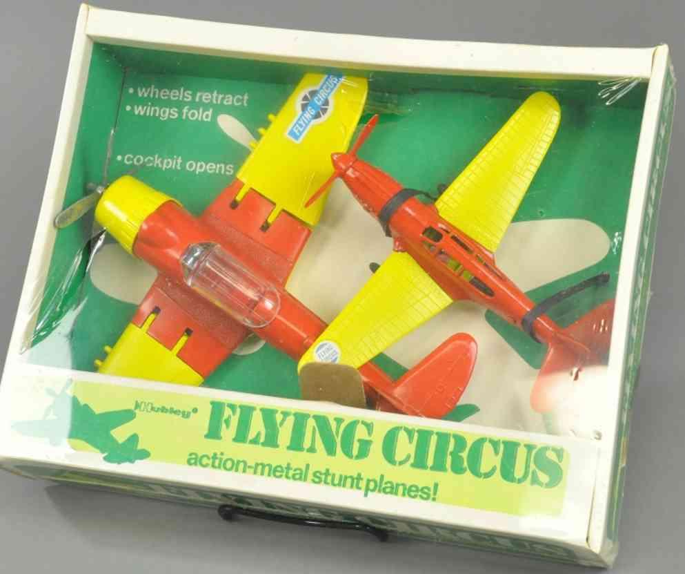 hubley spielzeug gusseisen zwei fliegende zirkusflugzeuge