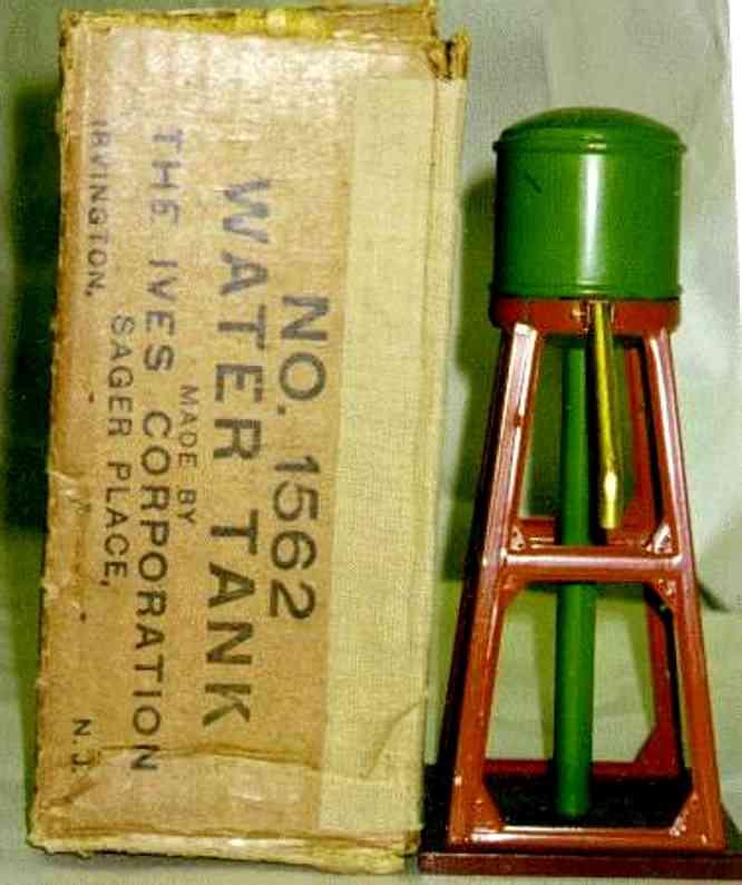 ives 1562 blech spielzeug wasswerturm mit erdfarbenem gerüst und grünem wasserbehälter