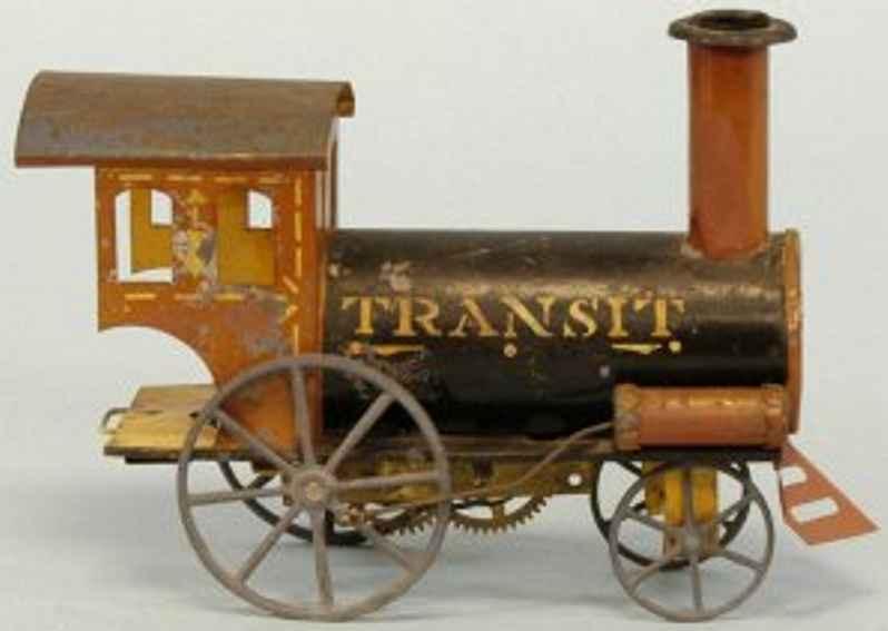 ives blech spielzeug uhrwerklokomotive, aus handbemaltem blech, auf dem schwarzen