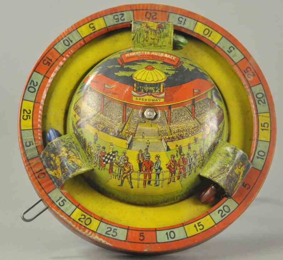 jeannette toy & novelty tin toy auto race hand cranked