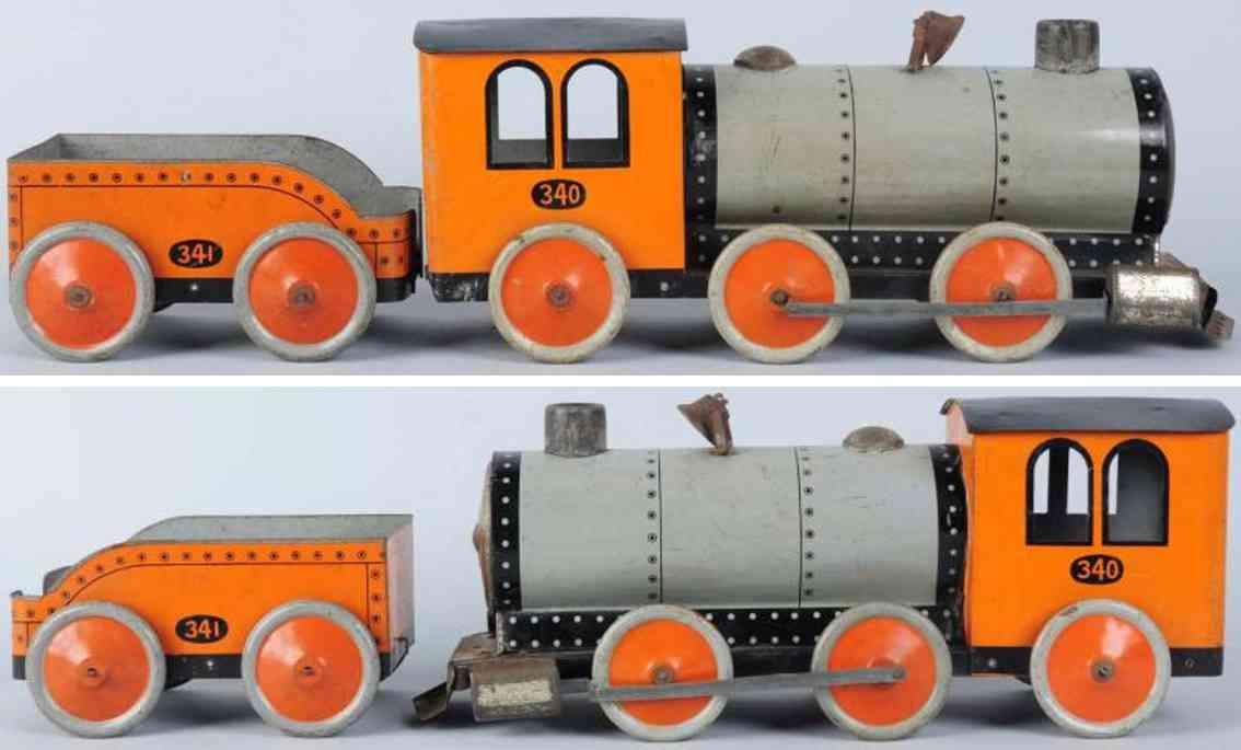 katz toy company 340 341 stahlblech spielzeug lokmotive tender