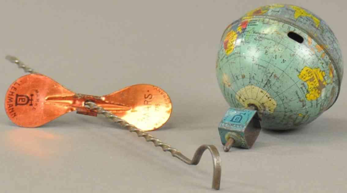 lehmann 757 blech spielzeug mundus globus kreisel schnuraufzug