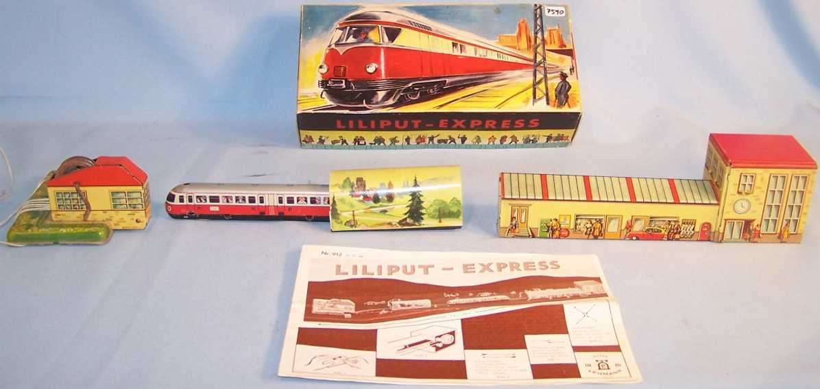 lehmann 912 liliput-express tin toy monorail with crank driv