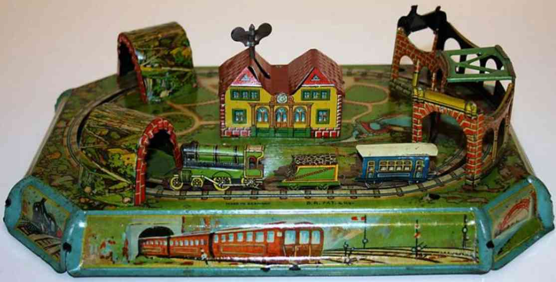 levy george gely 80 tin toy table railroad with clockwork, lithographed sheet landscape
