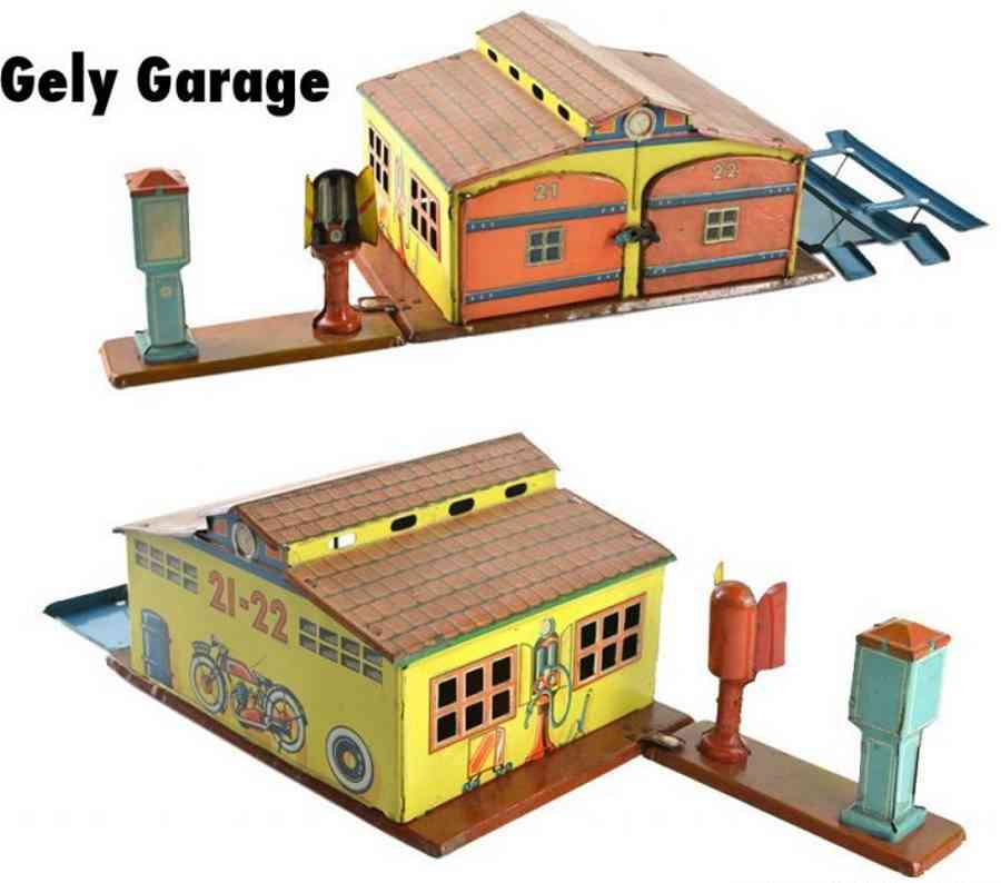 levy george gely tin toy gas station