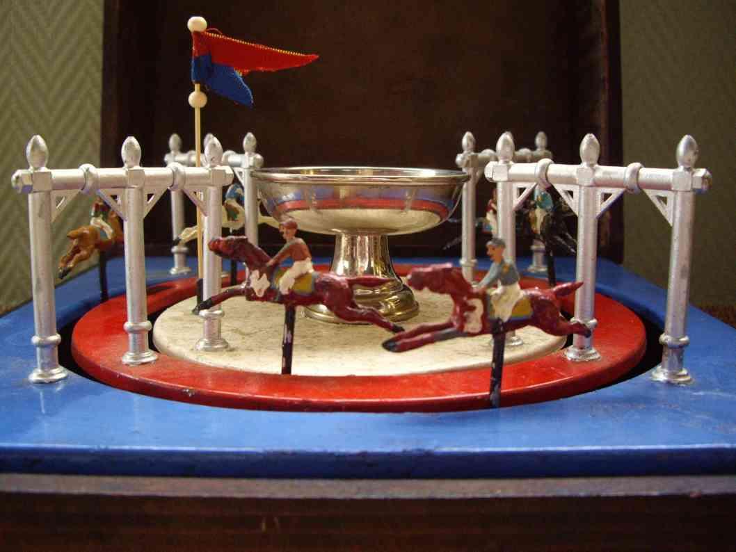 maerklin blech spielzeug pferderennspiel mit 6 pferden in einer holzbox. jeder spiele
