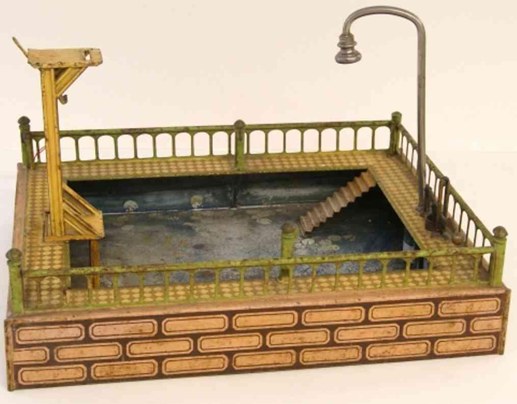 marklin maerklin 8583/1 tin toy swimming bath as square reservoir with revolving rail, showe