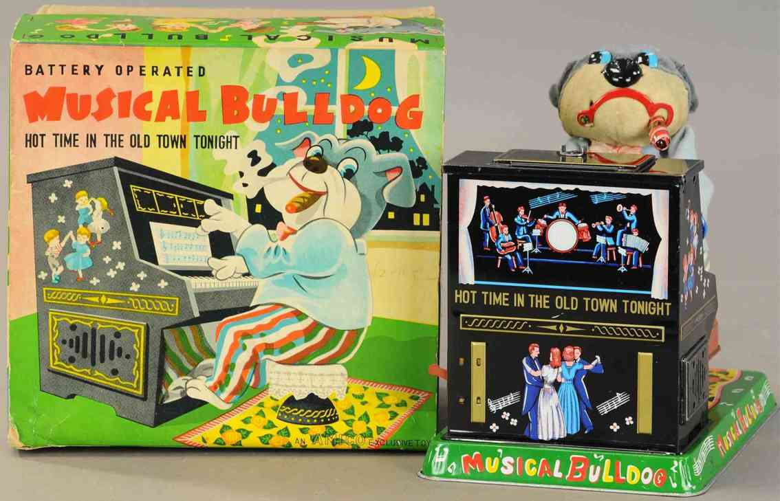 marusan shoten tin toy bulldog playing piano battery operated