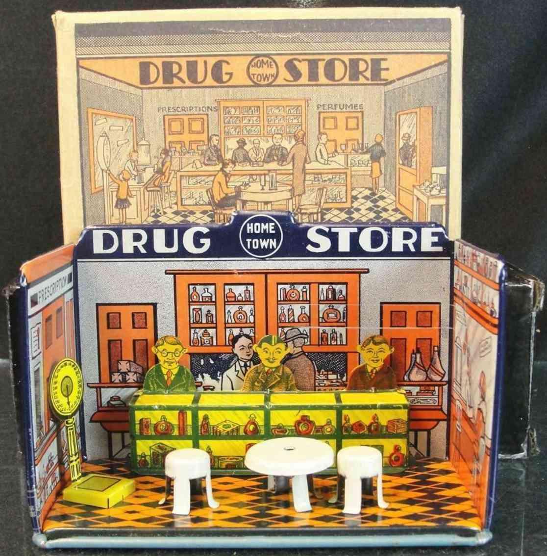 marx louis 184 blech spielzeug hometown drug store mit theke