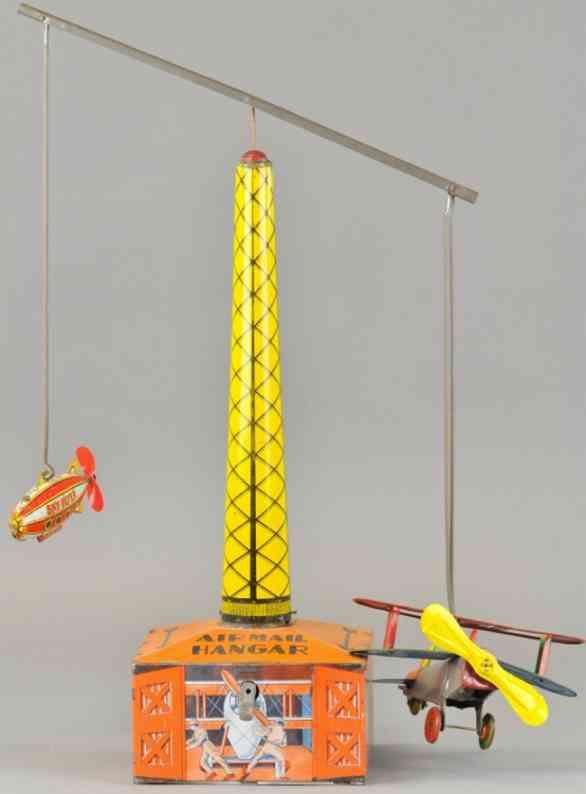 marx louis tin toy tall air mail hangar airplane zeppelin