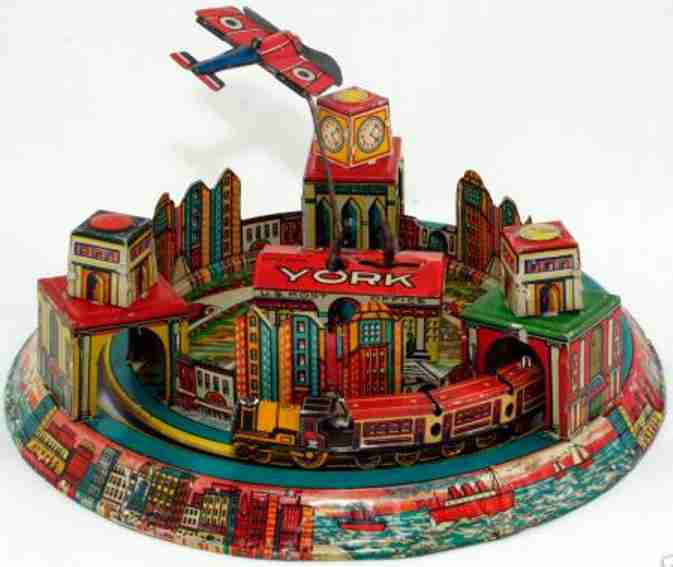 marx louis tin toy new york express three tunnels buildings